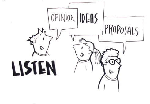Listen to opinions, ideas and proposals