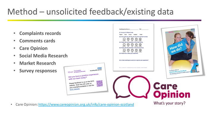 Examples of unsolicited feedback sources, such as complaints records, social media, market research and surveys